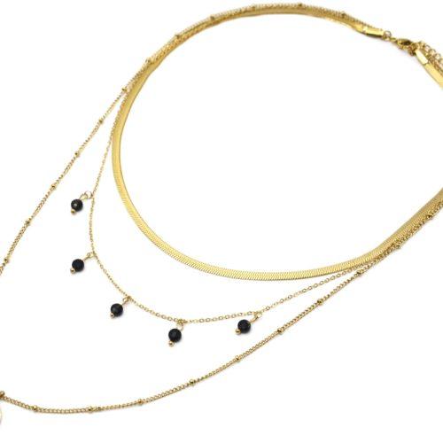 Collier-Triple-Chaines-Billes-Serpentine-avec-Medaille-Acier-Dore-et-Pierres-Noires