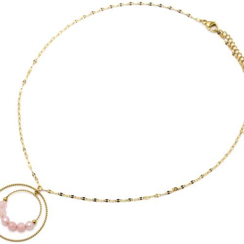 Collier-Fine-Chaine-Maillons-avec-Double-Cercles-Acier-Dore-et-Pierres-Roses