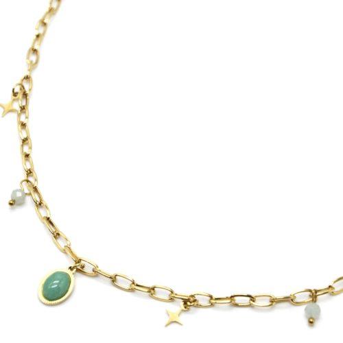 Collier-Chaine-Maillons-avec-Etoiles-Acier-Dore-Perles-et-Pierre-Ovale-Verte