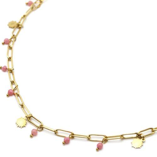 Collier-Chaine-Maillons-avec-Soleils-Acier-Dore-et-Pierres-Roses