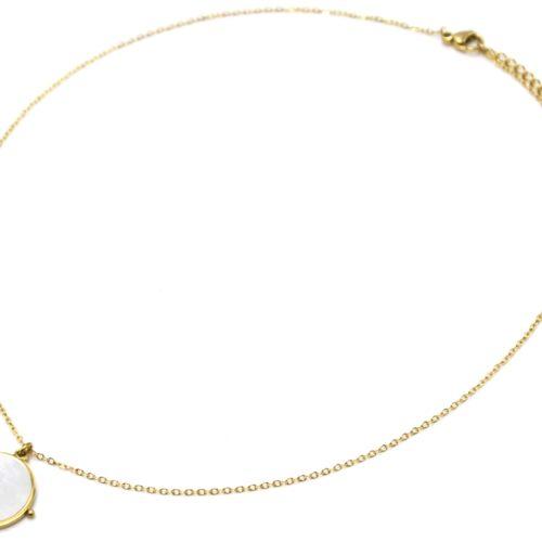 Collier-Fine-Chaine-Pendentif-Medaille-Nacre-Contour-Acier-Dore