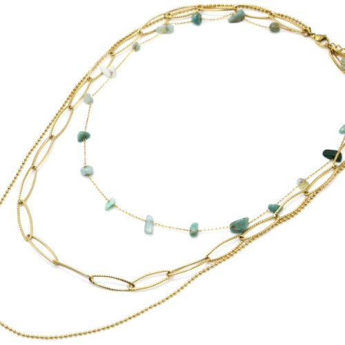 Collier-Triple-Chaines-Maillons-Larges-Billes-Acier-Dore-et-Pierres-Vertes
