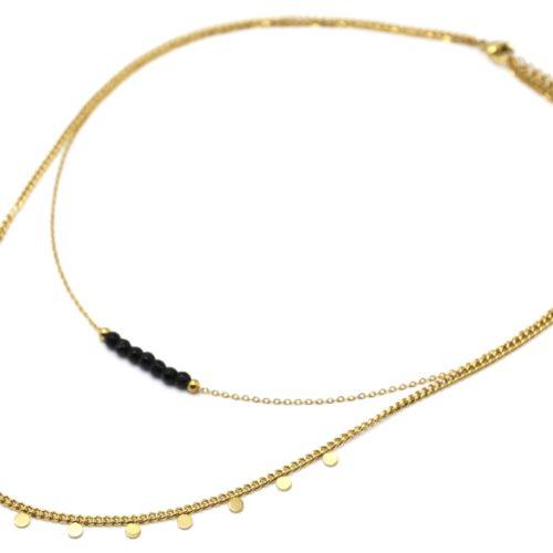 Collier-Double-Chaines-Mini-Pampilles-Acier-Dore-et-Pierres-Noires