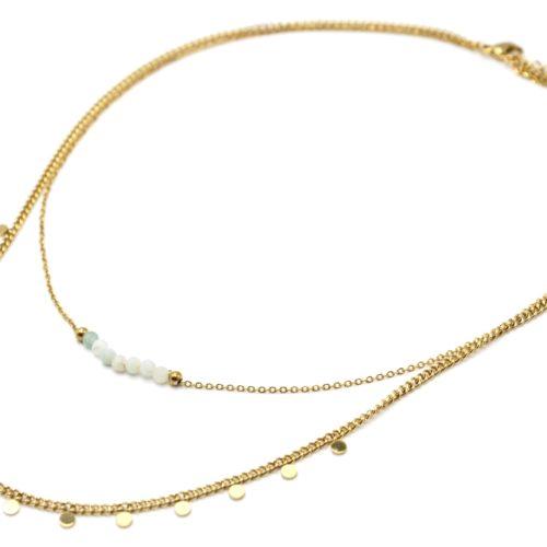 Bracelet-Double-Chaines-Mini-Pampilles-Acier-Dore-et-Pierres-Vertes