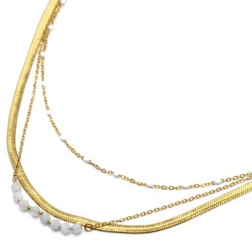 Collier-Triple-Chaines-Serpentine-Acier-Dore-Perles-Email-et-Pierres-Blanches