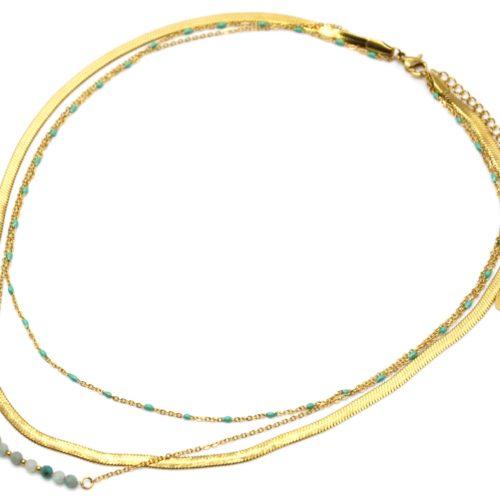 Collier-Triple-Chaines-Serpentine-Acier-Dore-Perles-Email-et-Pierres-Vertes