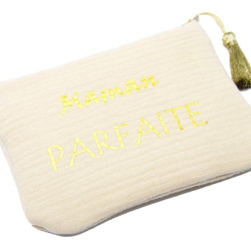 Trousse-Pochette-Coton-Beige-Message-Maman-Parfaite-Pompon-Dore