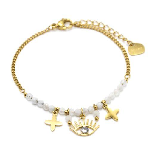 Bracelet-Chaine-avec-Oeil-Trefles-Acier-Dore-et-Pierres-Blanches