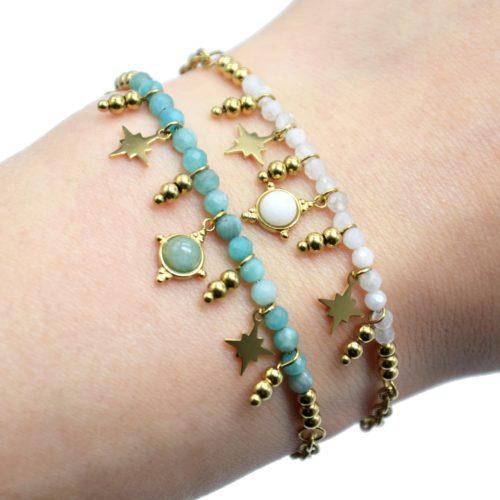 Bracelet-Chaine-avec-Pierres-Billes-et-Etoiles-Acier-Dore