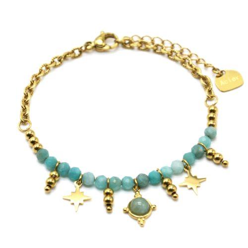 Bracelet-Chaine-avec-Pierres-Vertes-Billes-et-Etoiles-Acier-Dore