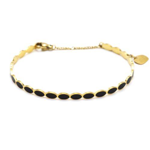 Bracelet-Jonc-Fin-Ovales-Email-Noir-et-Chaine-Acier-Dore