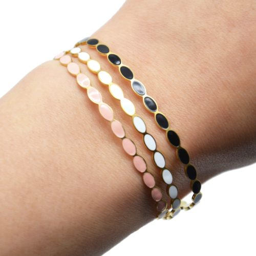 Bracelet-Jonc-Fin-Ovales-Email-et-Chaine-Acier-Dore