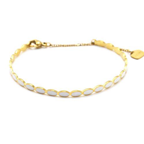 Bracelet-Jonc-Fin-Ovales-Email-Blanc-et-Chaine-Acier-Dore