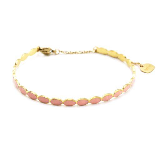 Bracelet-Jonc-Fin-Ovales-Email-Rose-Pale-et-Chaine-Acier-Dore
