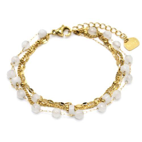 Bracelet-Multi-Chaines-Billes-Maillons-Acier-Dore-et-Pierres-Blanches