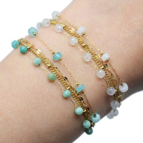 Bracelet-Multi-Chaines-Billes-Maillons-Acier-Dore-et-Pierres