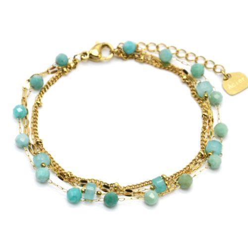 Bracelet-Multi-Chaines-Billes-Maillons-Acier-Dore-et-Pierres-Vertes