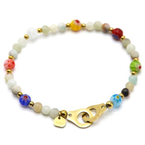 Bracelet-Elastique-avec-Pierres-Vertes-Motif-Fleur-et-Menottes-Acier-Dore
