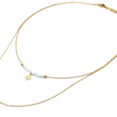 Collier-Double-Chaines-avec-Perles-Vert-Pale-Etoile-et-Soleil-Rayons-Acier-Dore