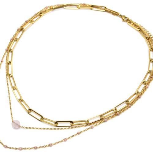 Collier-Triple-Chaines-Maillons-Acier-Dore-Mini-Perles-Email-et-Pierre-Rose-Pale