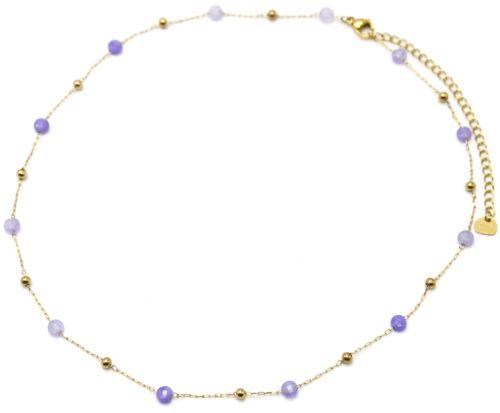Collier-Fine-Chaine-Billes-Acier-Dore-et-Pierres-Violettes