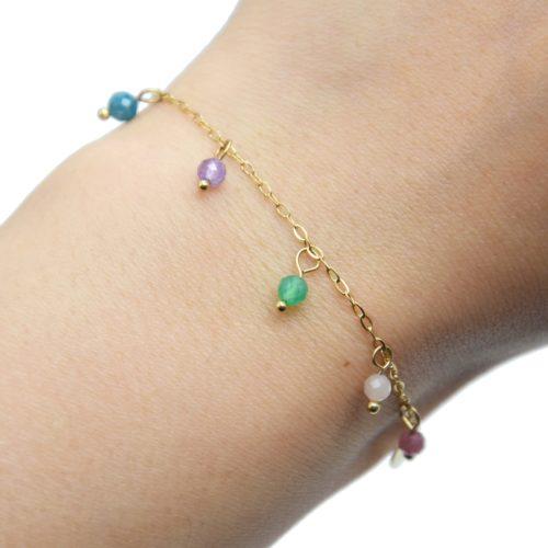 Bracelet-Chaine-avec-Pierres-Multicolores-et-Pampilles-Acier-Dore