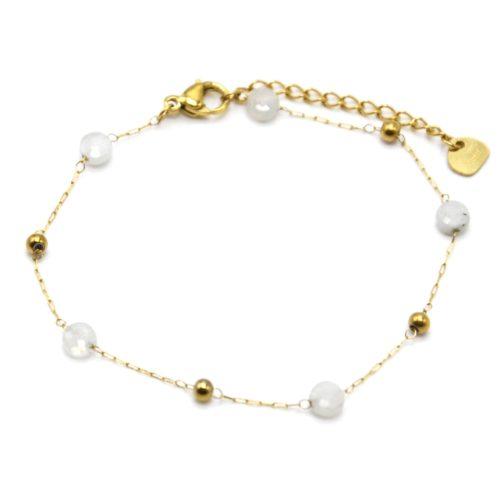 Bracelet-Fine-Chaine-Billes-Acier-Dore-et-Pierres-Blanches