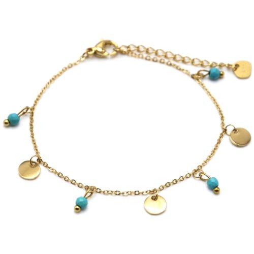 Bracelet-Fine-Chaine-avec-Pampilles-Rondes-Acier-Dore-et-Pierres-Turquoises