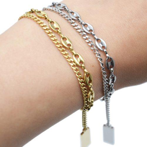 Bracelet-Double-Chaines-Maillons-et-Grains-Cafe-Acier-avec-Charms-Rectangles