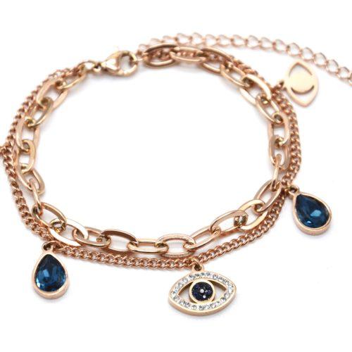 Bracelet-Chaines-Maillons-avec-Oeil-Acier-Or-Rose-Strass-et-Pierres-Gouttes-Bleues
