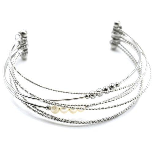 Bracelet-Multi-Rangs-Joncs-Torsades-Billes-Acier-Argente-et-Perles