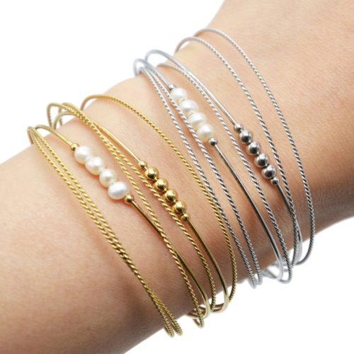 Bracelet-Multi-Rangs-Joncs-Torsades-Billes-Acier-et-Perles