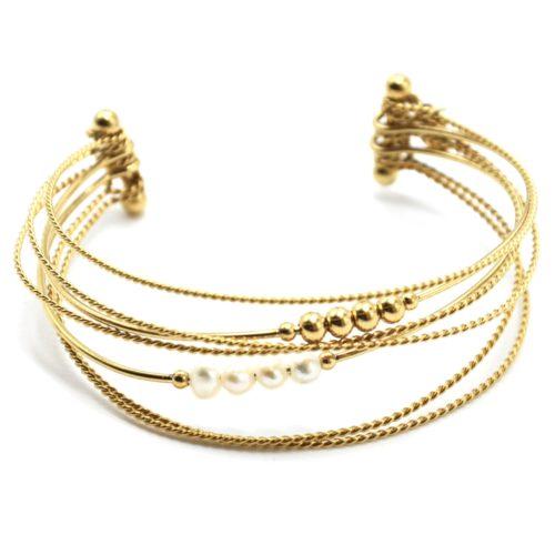 Bracelet-Multi-Rangs-Joncs-Torsades-Billes-Acier-Dore-et-Perles