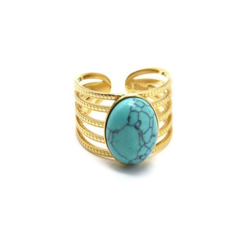 Bague-Large-Multi-Rangs-Points-Acier-Dore-avec-Pierre-Ovale-Turquoise
