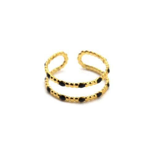 Bague-Double-Anneaux-Billes-Acier-Dore-et-Mini-Perles-Email-Noir