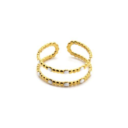 Bague-Double-Anneaux-Billes-Acier-Dore-et-Mini-Perles-Email-Blanc