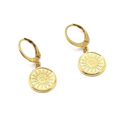 Boucles-dOreilles-Mini-Creoles-avec-Medaille-Motif-Soleil-Acier-Dore