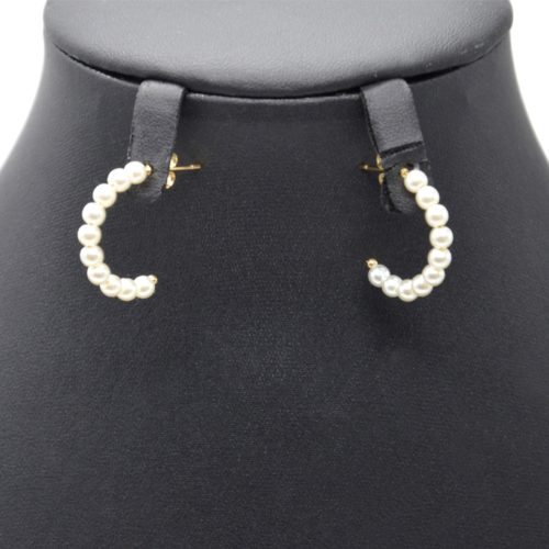 Boucles-dOreilles-Mini-Creoles-Acier-Dore-avec-Perles-Ecru