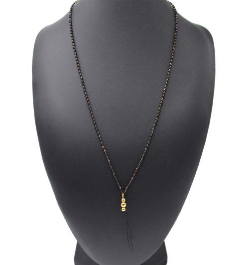 Grand-Cordon-Portable-Chaine-Mini-Perles-Noires-et-Billes-Acier-Dore