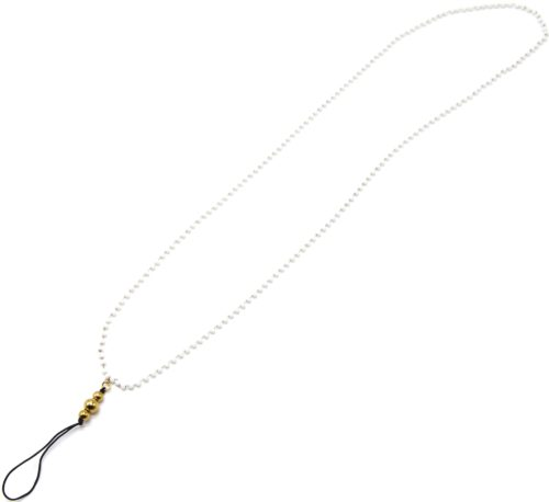 Grand-Cordon-Portable-Chaine-Mini-Perles-Blanches-et-Billes-Acier-Dore