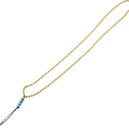Grand-Cordon-Portable-Chaine-Billes-Acier-Dore-et-Pierres-Turquoises