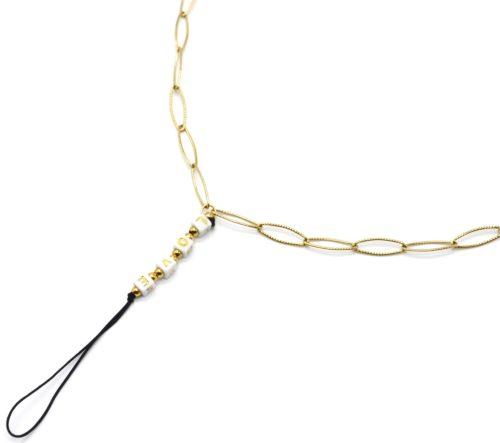 Grand-Cordon-Portable-Chaine-Maillons-Acier-Dore-et-Perles-Carrees-LOVE