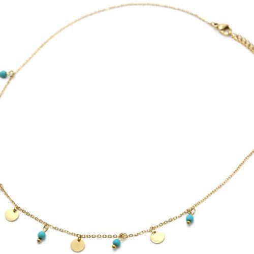 Collier-Fine-Chaine-avec-Pampilles-Rondes-Acier-Dore-et-Pierres-Turquoises