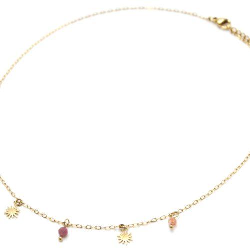 Collier-Chaine-avec-Pampilles-Soleils-Acier-Dore-et-Pierres-Multicolores