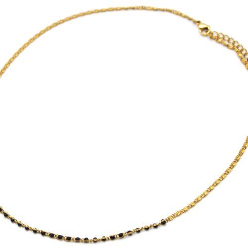 Collier-Chaine-Acier-Dore-avec-Mini-Perles-Email-Noir