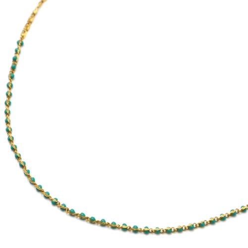 Collier-Chaine-Acier-Dore-avec-Mini-Perles-Email-Vert