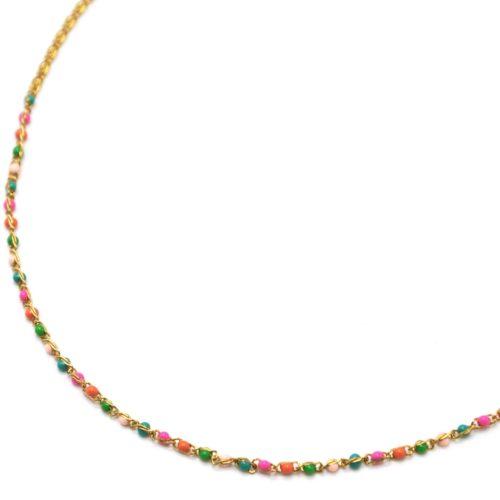 Collier-Chaine-Acier-Dore-avec-Mini-Perles-Email-Multicolore