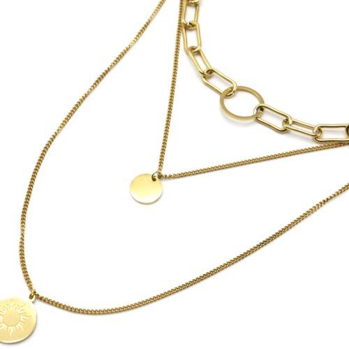 Collier-Triple-Chaines-Maillons-avec-Medailles-Unie-et-Soleil-Acier-Dore