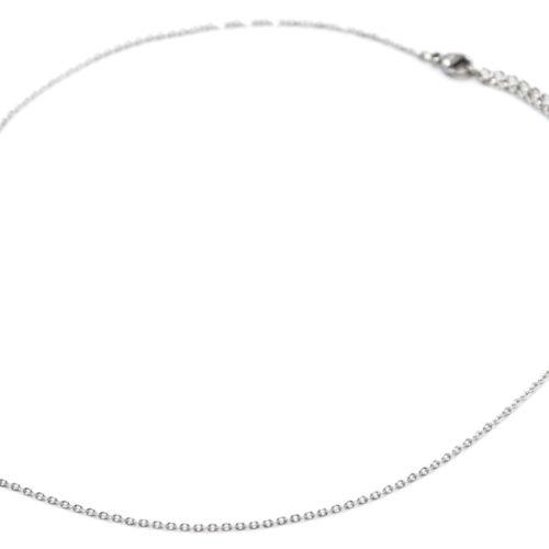 Collier-Fine-Chaine-Pendentif-Croix-Acier-Argente