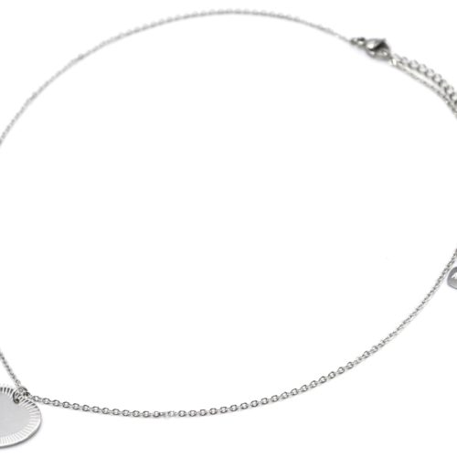 Collier-Fine-Chaine-Pendentif-Medaille-Coeur-Acier-Argente